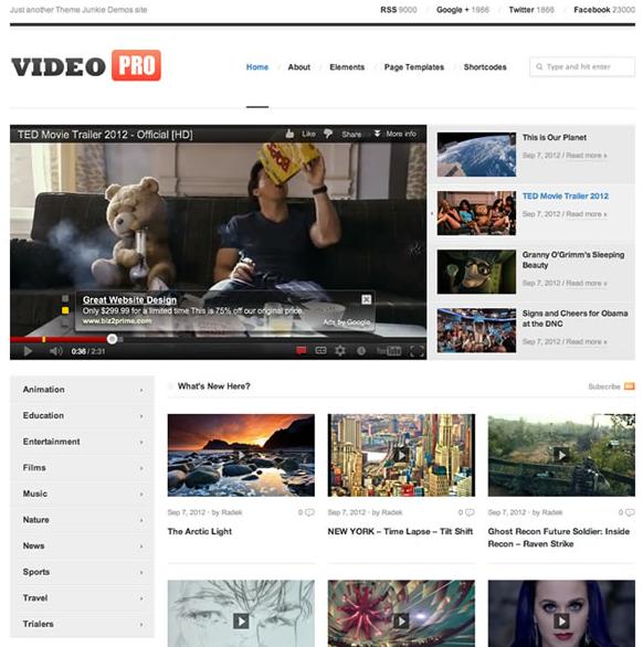 VideoPro theme ফ্রী ওয়ার্ডপ্রেস থীম ডাউনলোড এর জন্য ১টি জনপ্রিয় ওয়েব সাইট