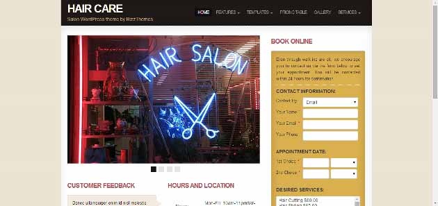 Hair Care   Salon WordPress theme by BizzThemes (630x297)