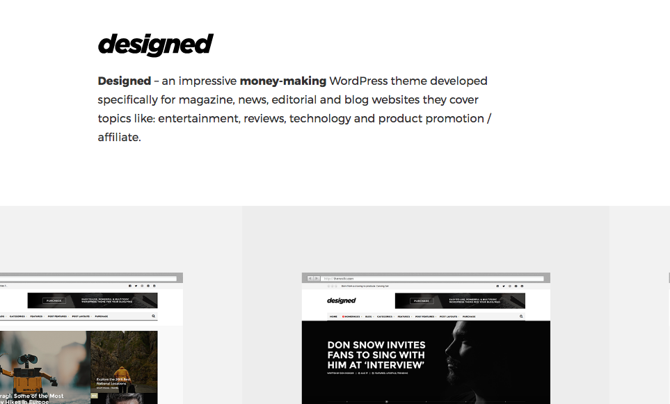 designed wordpress theme